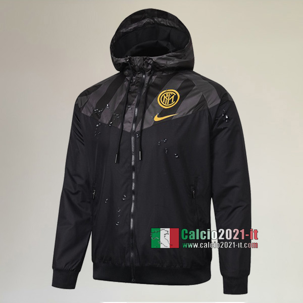 La Nuova Inter Full-Zip Giacca Antivento Nera Originale 2020/2021 :Calcio2021-it