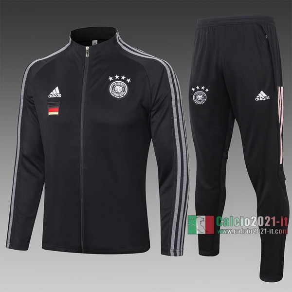 Calcio2021-It: Giacca Allenamento Germania Full-Zip Nera A321# 2020 2021