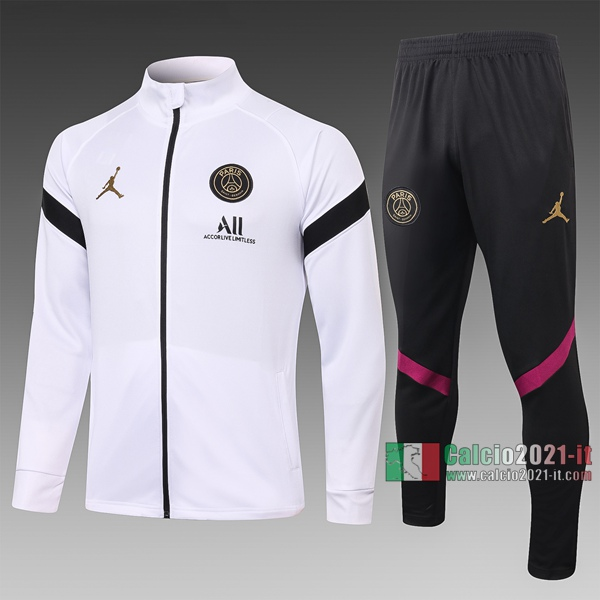 Calcio2021-It: Giacca Allenamento Paris Psg Air Jordan Full-Zip Bianca - Nera A366 2020 2021