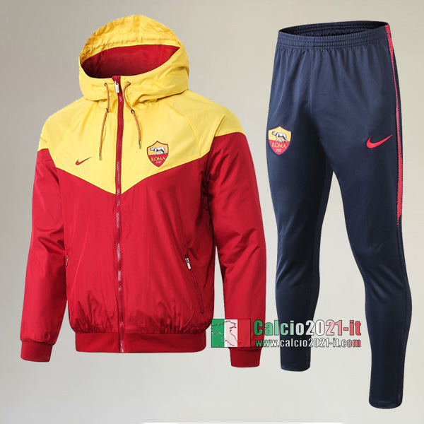 AAA Qualità: Full-Zip Giacca Antivento Nuove Del Tuta AS Roma + Pantaloni Rossa 2019-2020