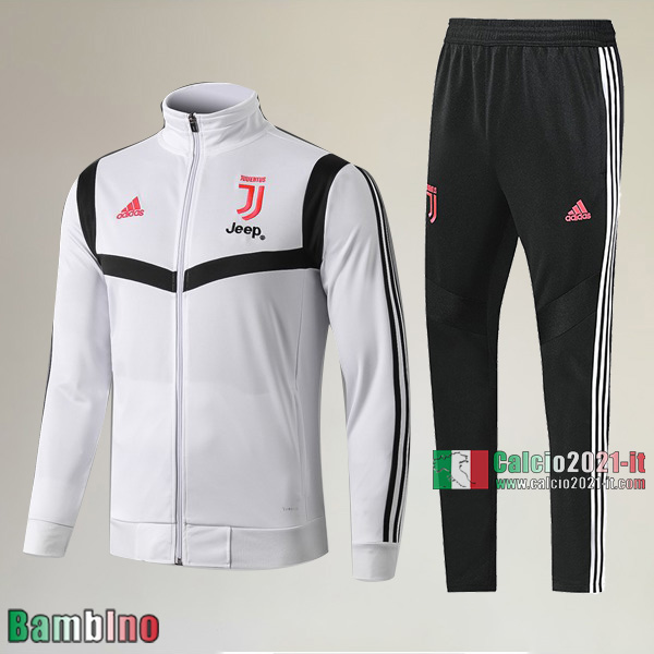 AAA Qualità Full-Zip Giacca Nuova Del Kit Tuta Juventus Turin Bambino Bianca/Nera Outlet 2019/2020