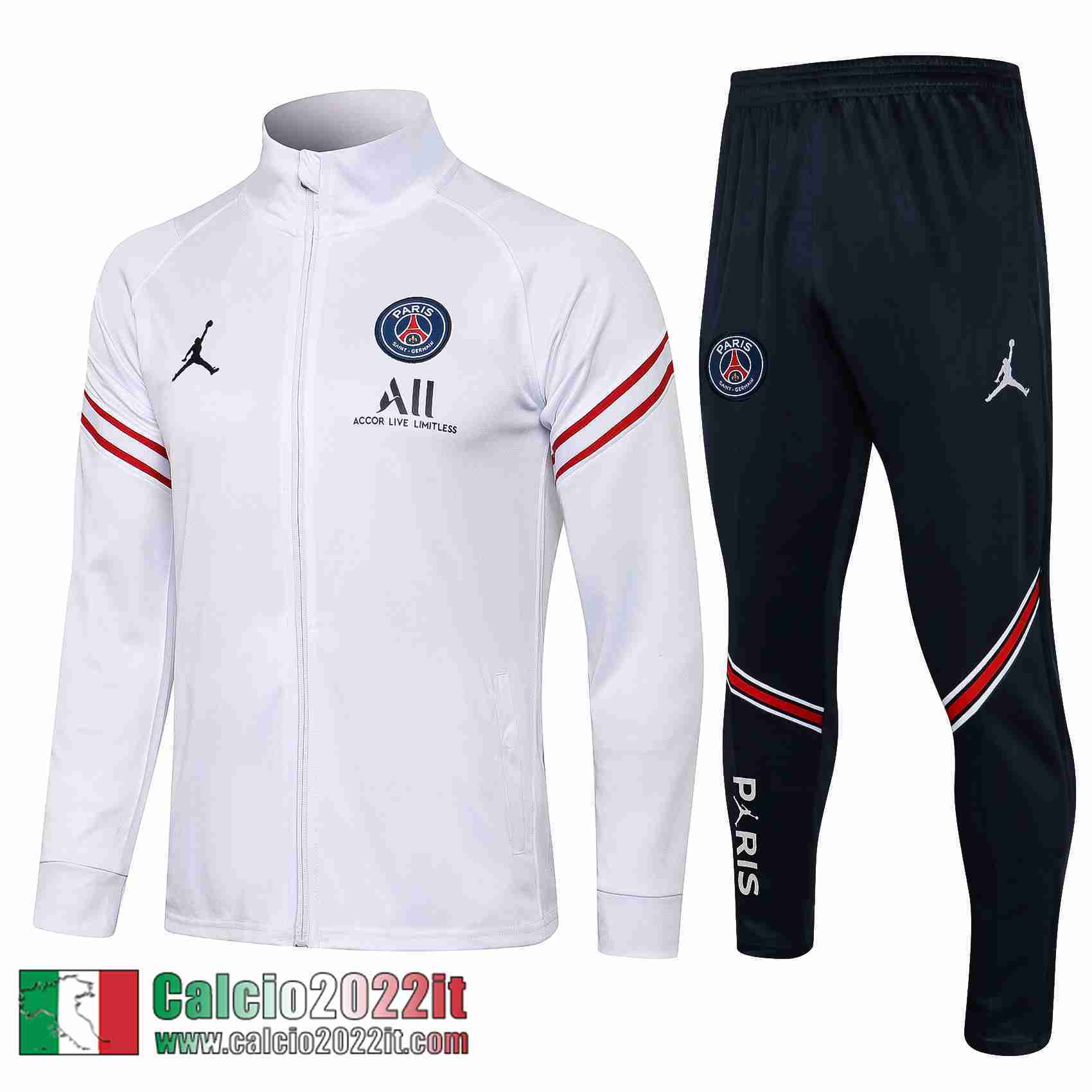Paris Saint Germain Psg Air Jordan Full-Zip Giacca Bianca Jk05 2021 2022