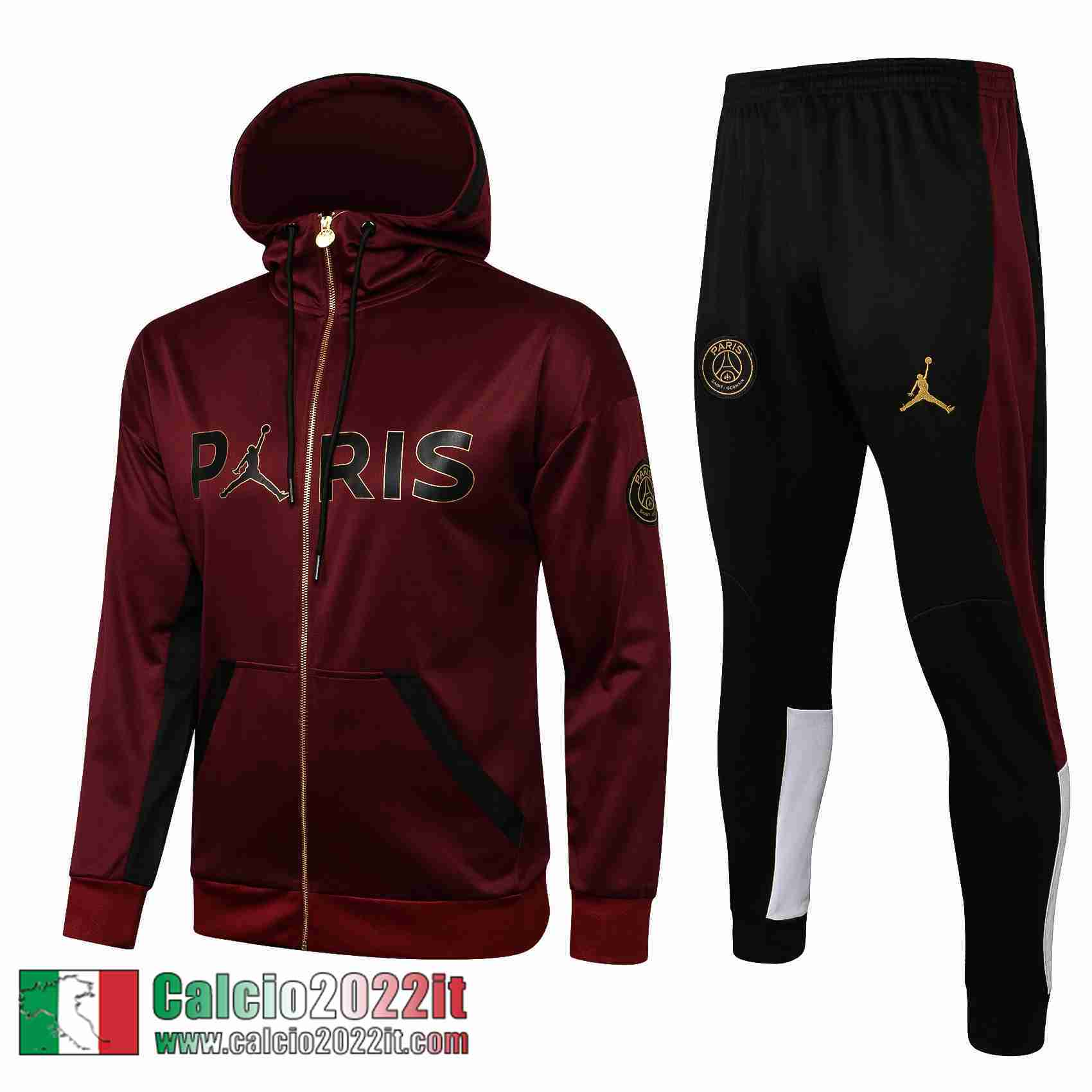 Paris Saint Germain Psg Air Jordan Cappuccio Hoodie Full-Zip Giacca Scarlatto Jk33 2021 2022
