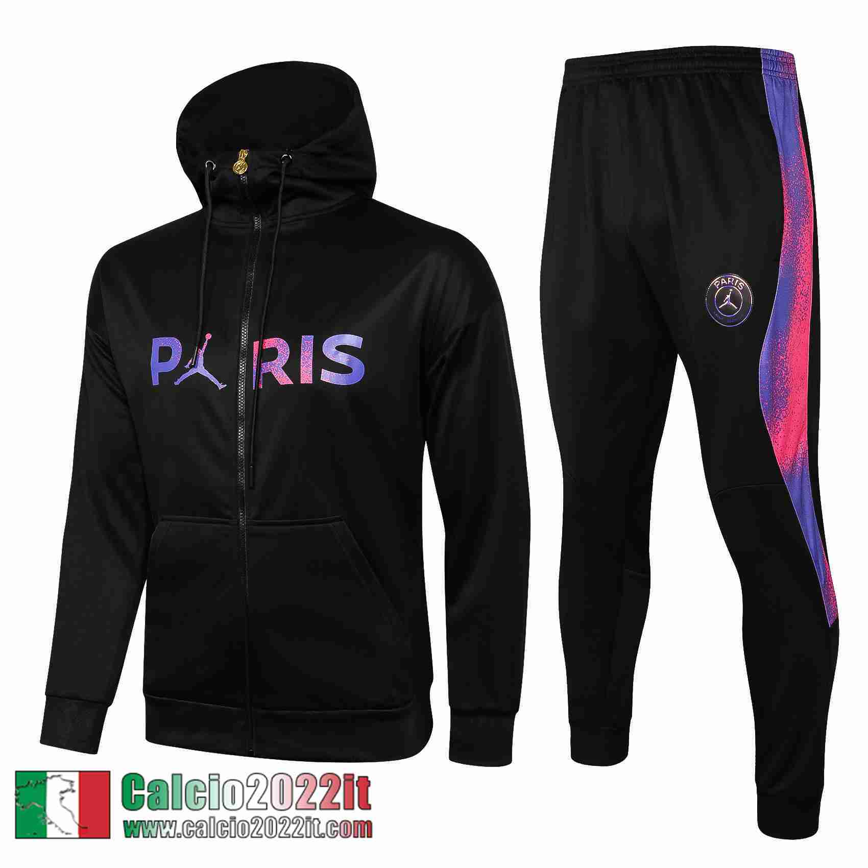 Paris Saint Germain Psg Air Jordan Cappuccio Hoodie Full-Zip Giacca Nera Jk34 2021 2022