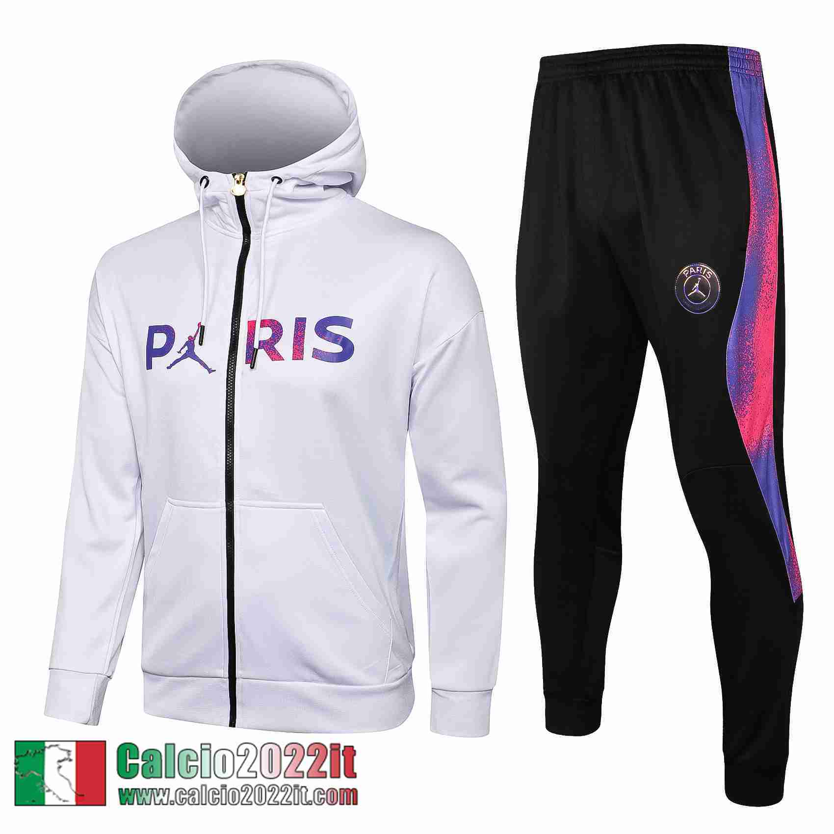 Paris Saint Germain Psg Air Jordan Cappuccio Hoodie Full-Zip Giacca Bianca Jk35 2021 2022